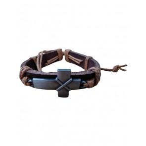 Bracelet Cross Silver Leather Brown