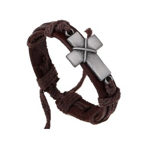 Bracelet-Leather-Cross-Jesus