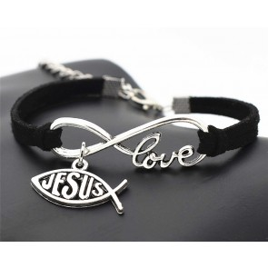 Bracelet Leather Love Infinity Black